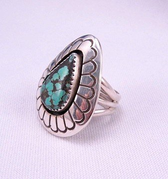 Image 1 of Gene & Martha Jackson Navajo Turquoise Silver Shadowbox Ring Sz7