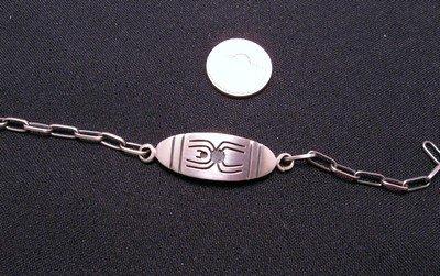 Image 1 of Hopi Sterling Silver Overlay I.D. Bracelet, Riley Polyquaptewa