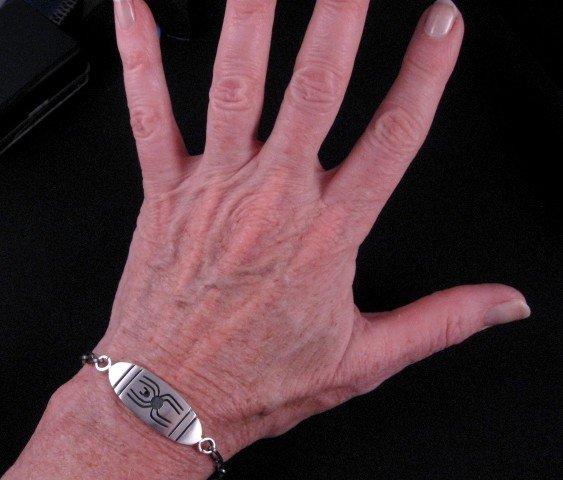 Image 2 of Hopi Sterling Silver Overlay I.D. Bracelet, Riley Polyquaptewa