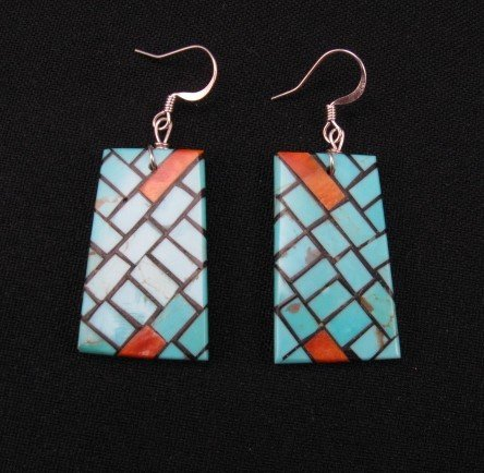 Image 0 of Santo Domingo Inlaid Mosaic Persian Turquoise Earrings, Julian Coriz