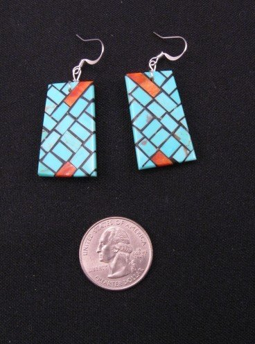 Image 1 of Santo Domingo Inlaid Mosaic Persian Turquoise Earrings, Julian Coriz