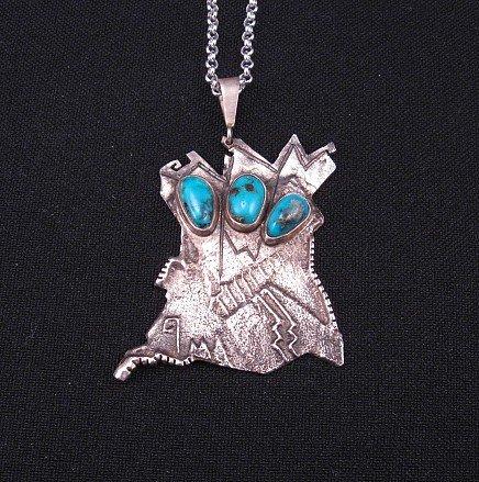 Lorenzo Shirley, Navajo, Bisbee Turquoise Three Maiden Pendant