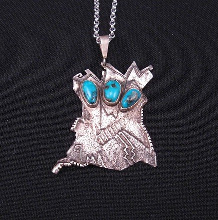 Lorenzo Shirley, Navajo, Bisbee Turquoise Sterling Silver Pendant