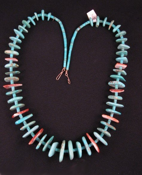 Image 0 of VINTAGE SANTO DOMINGO PUEBLO TURQUOISE & SPINY OYSTER NECKLACE, BENAVIDEZ