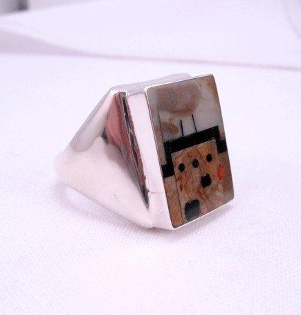 Image 2 of Native American Zuni * Gilbert Calavaza * Pueblo Inlay Silver Ring, Sz13-1/2
