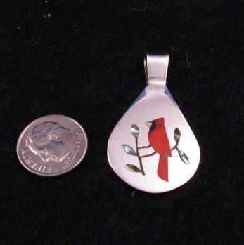 Image 0 of Zuni Inlaid Cardinal Bird Silver Pendant, Sanford Edaakie
