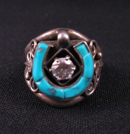 Dead Pawn Native American Turquoise Horseshoe Silver Ring Sz10
