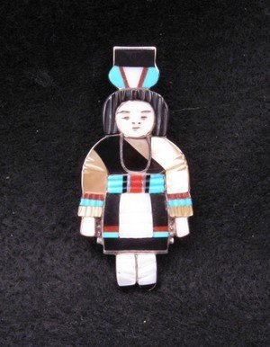 Image 0 of Madeline Beyuka Zuni Multi Inlay Olla Maiden Pin / Pendant - Gold