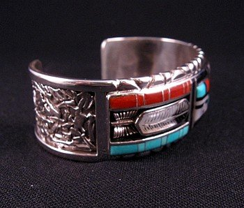 Image 1 of Don Dewa Zuni Channel Inlay Sunface Bracelet