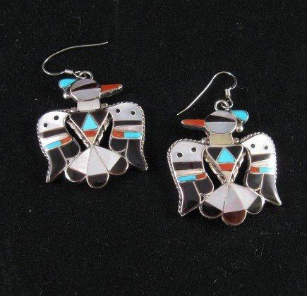 Image 0 of Zuni Multi Inlay Thunderbird Earrings, Bobby Shack