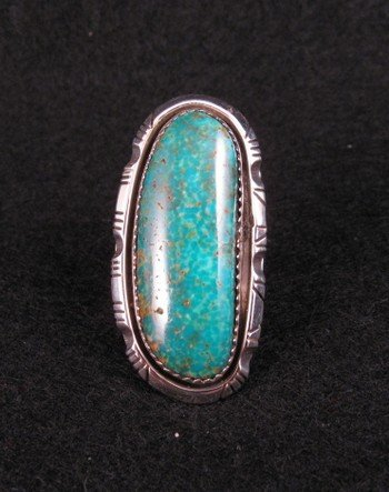NATIVE AMERICAN NAVAJO TURQUOISE SILVER RING SZ5-1/2, BEA JOHNSON