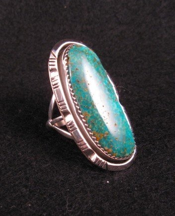 Image 1 of NATIVE AMERICAN NAVAJO TURQUOISE SILVER RING SZ5-1/2, BEA JOHNSON