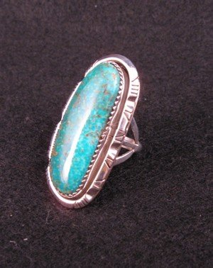 Image 2 of NATIVE AMERICAN NAVAJO TURQUOISE SILVER RING SZ5-1/2, BEA JOHNSON