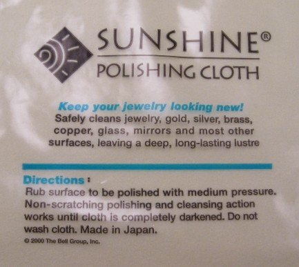 Image 1 of Sunshine Polishing Cloth - Silver Jewelry cleaner - Safely Cleans N/A Jewelry