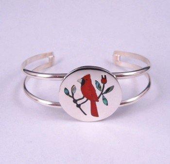 Native American Zuni Inlaid Cardinal Silver Bracelet - Sanford Edaakie