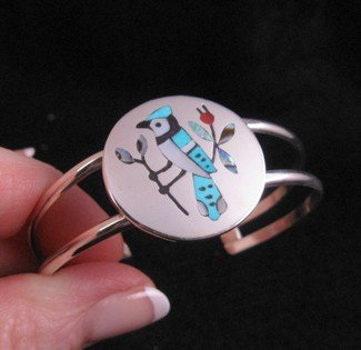 Image 0 of Zuni Multigem Inlay Blue Jay Bracelet, Sanford Edaakie
