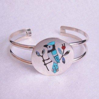 Image 1 of Zuni Multigem Inlay Blue Jay Bracelet, Sanford Edaakie