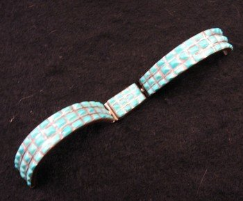 Vintage Zuni Native American Zuni Turquoise Inlay Silver Watch Cuff