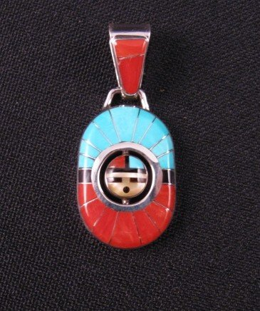 Zuni Don Dewa Channel Inlay Sunface Spinner Pendant