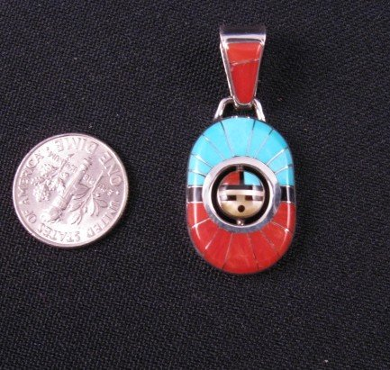 Image 2 of Zuni Don Dewa Channel Inlay Sunface Spinner Pendant
