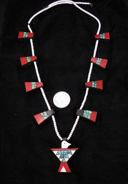 Vintage Santo Domingo Depression Thunderbird Tab Necklace