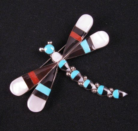 Big Multigem Inlay Dragonfly Pin Pendant, Zuni, Ahiyite