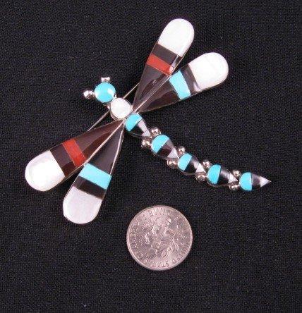 Image 1 of Big Multigem Inlay Dragonfly Pin Pendant, Zuni, Ahiyite
