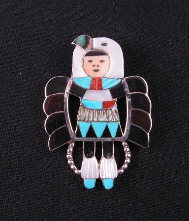 Madeline Beyuka Zuni Eagle Dancer Inlay Pin Pendant