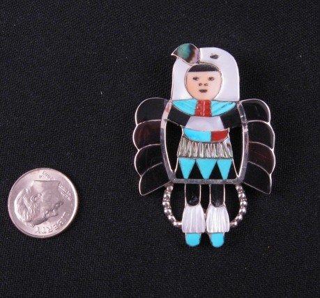 Image 1 of Madeline Beyuka Zuni Eagle Dancer Inlay Pin Pendant