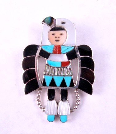 Image 2 of Madeline Beyuka Zuni Eagle Dancer Inlay Pin Pendant
