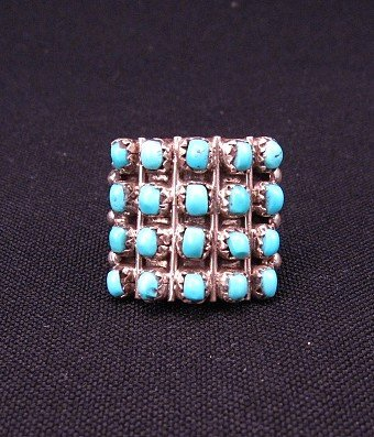 Lorene Tucson Zuni 20-Turquoise Stone Silver Ring sz6-1/2