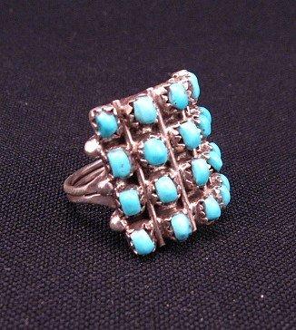 Image 1 of Lorene Tucson Zuni 20-Turquoise Stone Silver Ring sz6-1/2