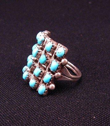 Image 2 of Lorene Tucson Zuni 20-Turquoise Stone Silver Ring sz6-1/2