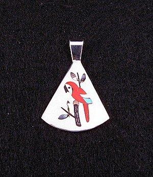 Image 0 of Sanford Edaakie Zuni Inlaid Macaw Parrot Pendant