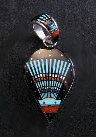 Ervin Tsosie Navajo Micro Inlaid Silver Pendant