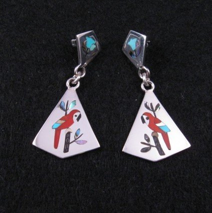 Image 0 of Sanford Edaakie Zuni Inlaid Macaw Parrot 2-piece Earrings