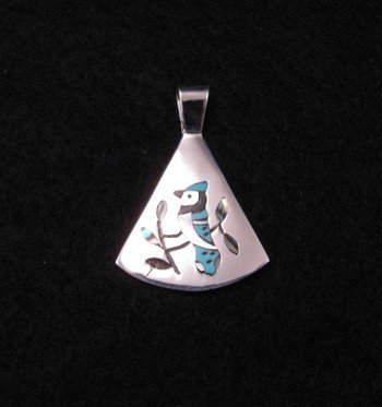 Image 0 of Zuni Multigem Inlay Blue Jay Silver Pendant, Sanford Edaakie