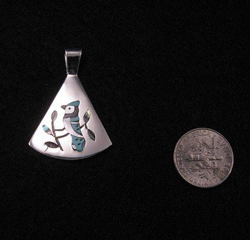 Image 1 of Zuni Multigem Inlay Blue Jay Silver Pendant, Sanford Edaakie