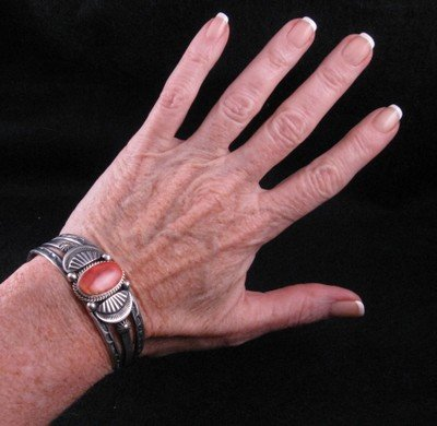 Image 2 of Navajo Old Style Spiny Oyster Bracelet, Delbert Gordon