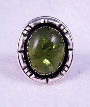 Image 0 of Native American Navajo Green Amber Silver Ring Sz10, L. Bruce Hodgins
