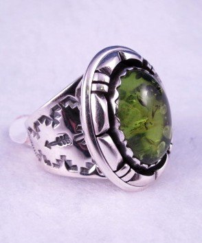 Image 1 of Native American Navajo Green Amber Silver Ring Sz10, L. Bruce Hodgins