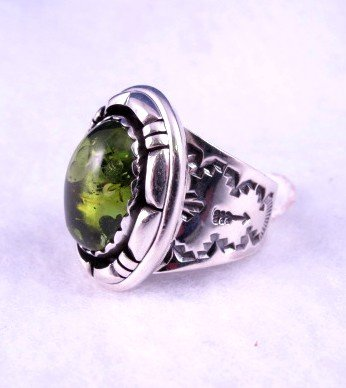 Image 2 of Native American Navajo Green Amber Silver Ring Sz10, L. Bruce Hodgins