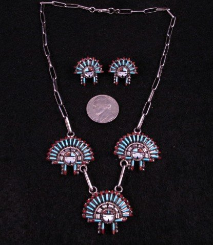Zuni Needlepoint Sun Face Headress Necklace Earrings Set, Ed Cooyate
