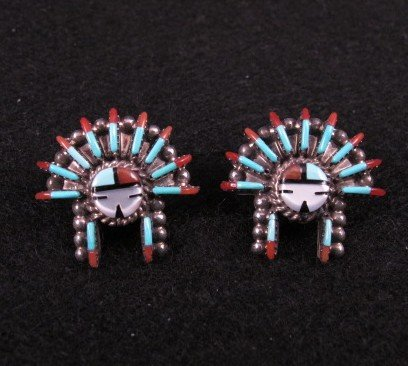 Image 1 of Zuni Needlepoint Sun Face Headress Necklace Earrings Set, Ed Cooyate