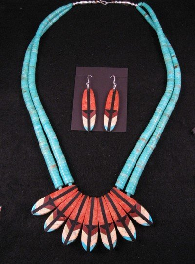 Santo Domingo ''Eagle Tail'' Inlaid Feather Necklace Set, Rudy & Mary Coriz