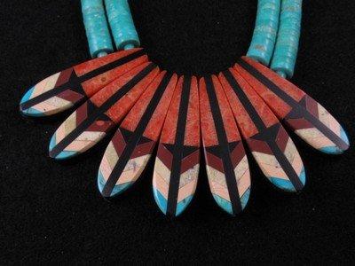Image 1 of Santo Domingo ''Eagle Tail'' Inlaid Feather Necklace Set, Rudy & Mary Coriz