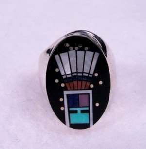 Image 0 of Navajo Yei Kachina Starry Nite Ring sz9, Clayton Tom