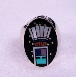 Navajo Yei Kachina Starry Nite Ring sz9, Clayton Tom