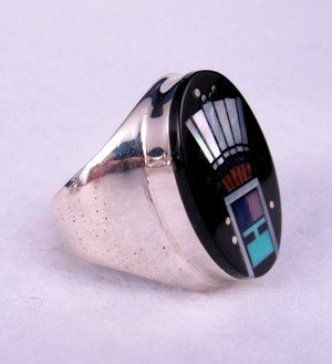 Image 1 of Navajo Yei Kachina Starry Nite Ring sz9, Clayton Tom
