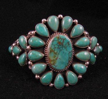 Big Navajo Turquoise Cluster Silver Bracelet, Darryl Becenti